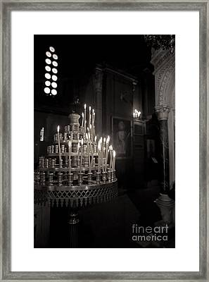 Framed Print featuring the photograph Prayer Candles by Aiolos Greek Collections