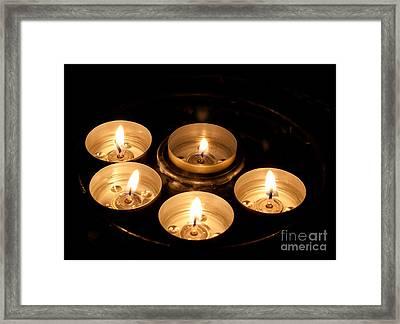 Prayer Candles In Notre Dame Framed Print
