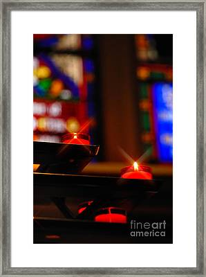 Prayer Candles Trinity Cathedral Pittsburgh Framed Print by Amy Cicconi