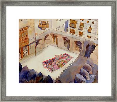 Prayer Carpet Naseef House Framed Print by Dorothy Boyer