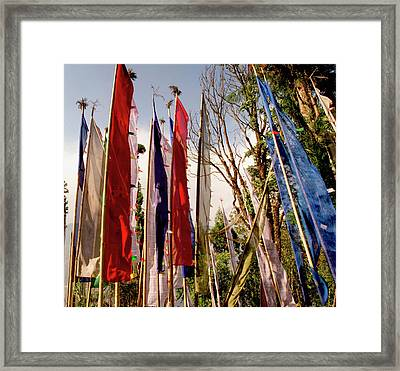 Prayer Flags At A Buddhist Monastery Framed Print by Jaina Mishra