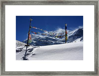 Prayer Flags At The Pass Framed Print