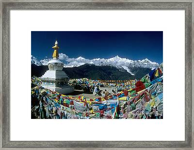 Prayer Flags In The Himalayan Mountains Framed Print