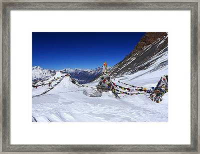 Prayer Flags, Thorong La Pass, Nepal Framed Print