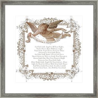 Prayer From A Guardian Angel - Prayer - Baby Angel Framed Print by KM Russell