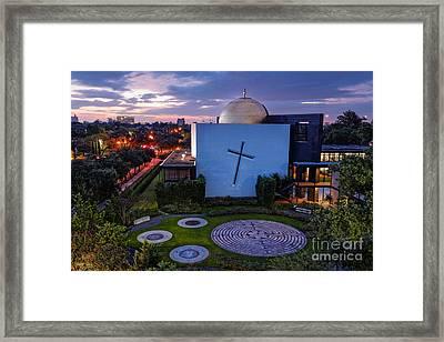 Prayer Garden Of The Chapel Of St. Basil University Of Saint Thomas - Montrose Houston Texas Framed Print by Silvio Ligutti