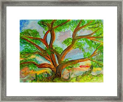 Prayer Mountain Tree Framed Print