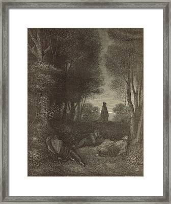 Prayer Of Jesus In The Garden Of Olives Framed Print by Antique Engravings