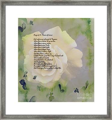 Prayer Of St. Francis And Yellow Rose Framed Print