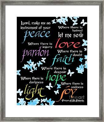 Prayer Of St Francis - Butterflies Framed Print by Ginny Gaura