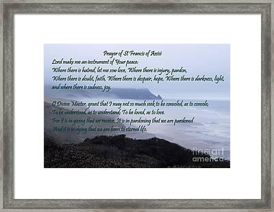 Prayer Of St Francis Of Assisi Framed Print by Sharon Elliott