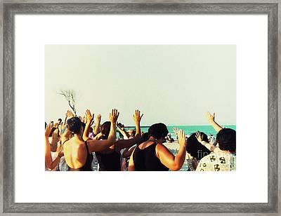 Prayer Service At The Beach Framed Print