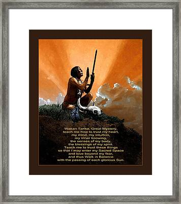 Prayer To The Great Mystery Poster Framed Print by Rick Mosher