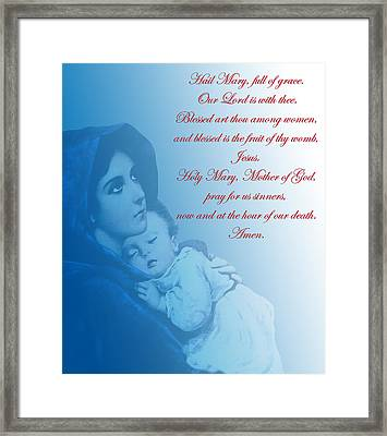 Framed Print featuring the digital art Prayer To Virgin Mary 2 by A Samuel