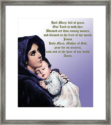 Framed Print featuring the digital art Prayer To Virgin Mary 3 by A Samuel