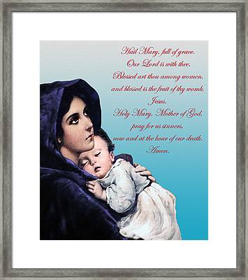 Framed Print featuring the digital art Prayer To Virgin Mary by A Samuel
