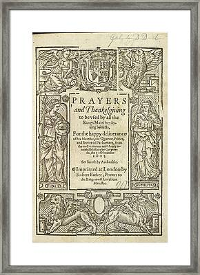 Prayers And Thanksgiving Framed Print by British Library