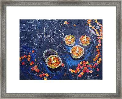 Prayers To The Ganges River Framed Print by Art Nomad Sandra  Hansen