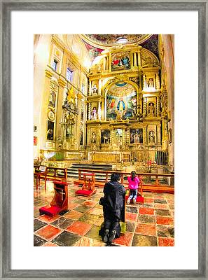 Praying At The Altar In Puebla Cathedral Framed Print