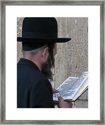 Praying At Wailing Wall Framed Print