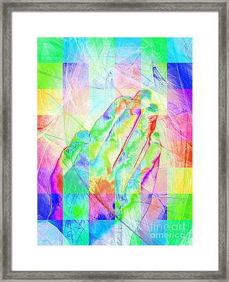 Praying Hands 20150302v1 Color Squares Framed Print by Wingsdomain Art and Photography
