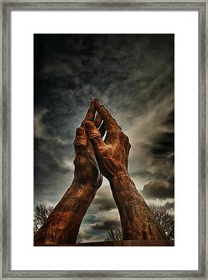 Praying Hands At Oru  Framed Print by Tim Hayes