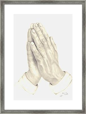 Framed Print featuring the drawing Praying Hands by Patricia Hiltz