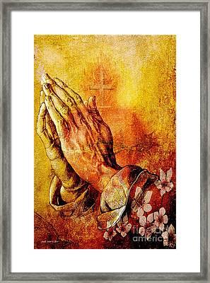 Praying Hands With Sacred Heart Framed Print