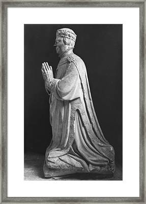 Praying Kneeling Figure Of Duc Jean De Berry 1340-1416 Count Of Poitiers Framed Print by French School