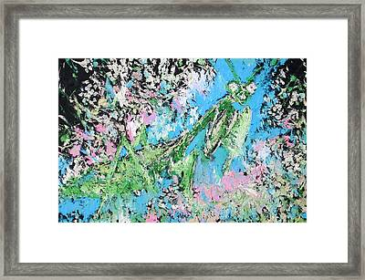 Praying Mantis In The Flowers - Oil Painting Framed Print by Fabrizio Cassetta