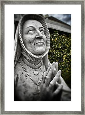 Praying Nun Statue Framed Print