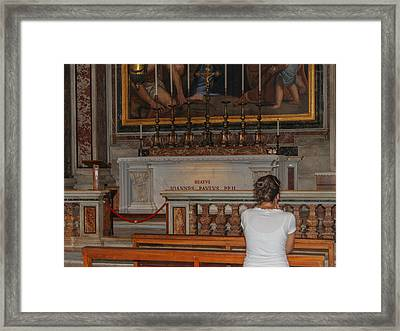 Praying To Pope John Paul II  Framed Print