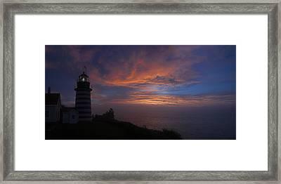 Pre Dawn Lighthouse Sentinal Framed Print by Marty Saccone