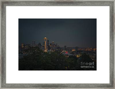 Pre-dawn Seattle Framed Print by Gene Garnace