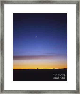 Pre-dawn Sky With Waning Crescent Moon Framed Print by Alan Dyer