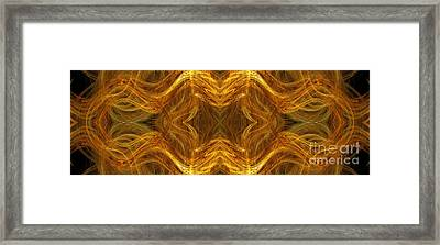 Precious Metal 3 Ocean Waves Dark Gold Framed Print by Andee Design