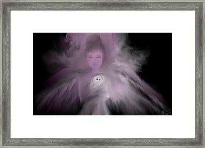Precious Owl Angel Framed Print by Jessica Wright