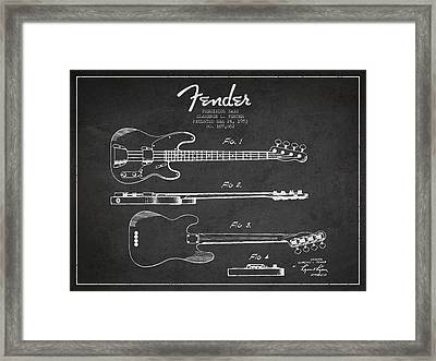 Precision Bass Patent Drawing From 1953 Framed Print by Aged Pixel