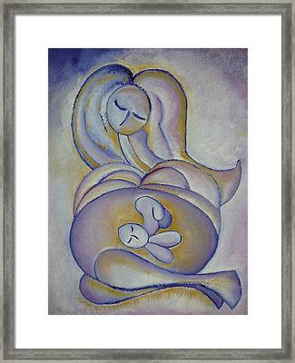 Pregnancy Oil Painting In The Belly Original By Gioia Albano Framed Print by Gioia Albano