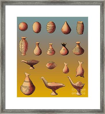 Prehistoric Clay Rattles Bronze Age Framed Print by Photo Researchers