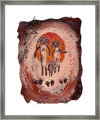 Prehistoric Family Framed Print