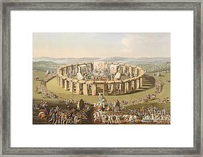 Prehistoric Festival At Stonehenge Framed Print by British Library