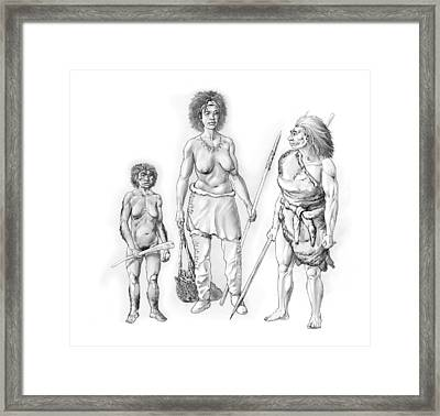 Prehistoric Hominin Females, Artwork Framed Print