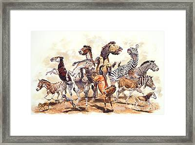 Prehistoric Horses Framed Print by Mark Hallett Paleoart