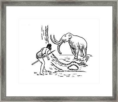 Prehistoric Man Hunting A Mammoth Framed Print