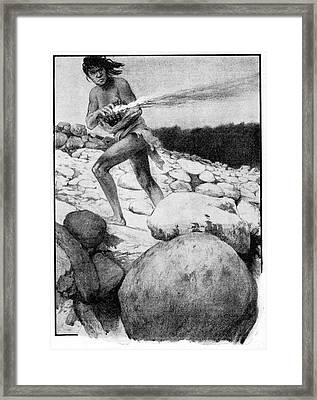 Prehistoric Man With Fire Framed Print by Cci Archives