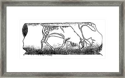 Prehistoric Reindeer Carving Framed Print by Science Photo Library