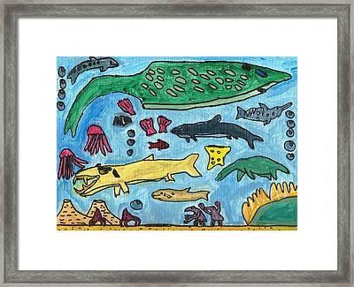 Prehistoric Sea Framed Print by Artists With Autism Inc