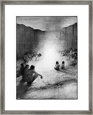 Prehistoric Tribe Around A Fire Framed Print