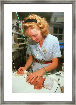 Premature Baby Girl And Nurse Framed Print by Penny Tweedie/science Photo Library